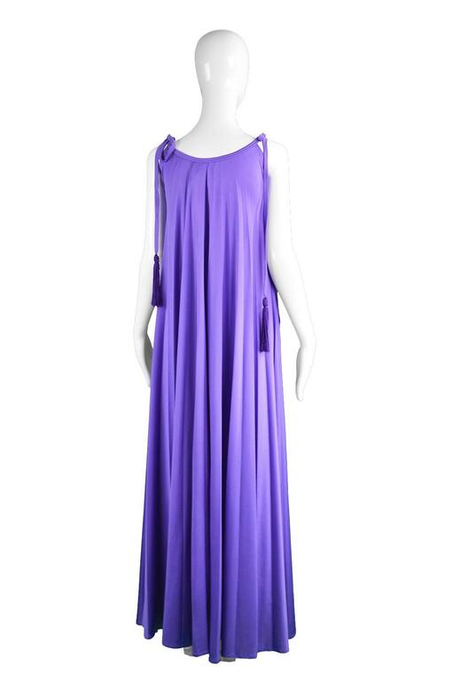 Frank Usher Purple Pleated Jersey Goddess Evening Gown, 1970s For Sale 2