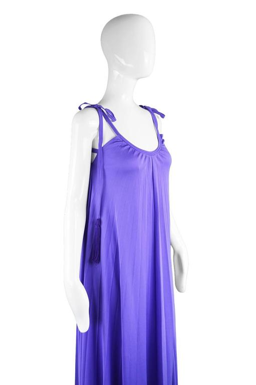 Women's Frank Usher Purple Pleated Jersey Goddess Evening Gown, 1970s For Sale