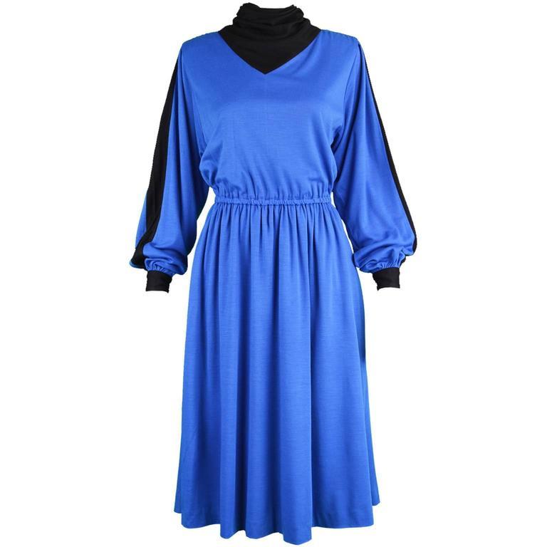 Akris Vintage Blue & Black Cowl Neck Dress, 1980s For Sale