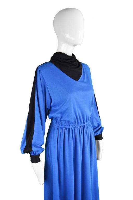 Akris Vintage Blue & Black Cowl Neck Dress, 1980s In Excellent Condition For Sale In Doncaster, South Yorkshire