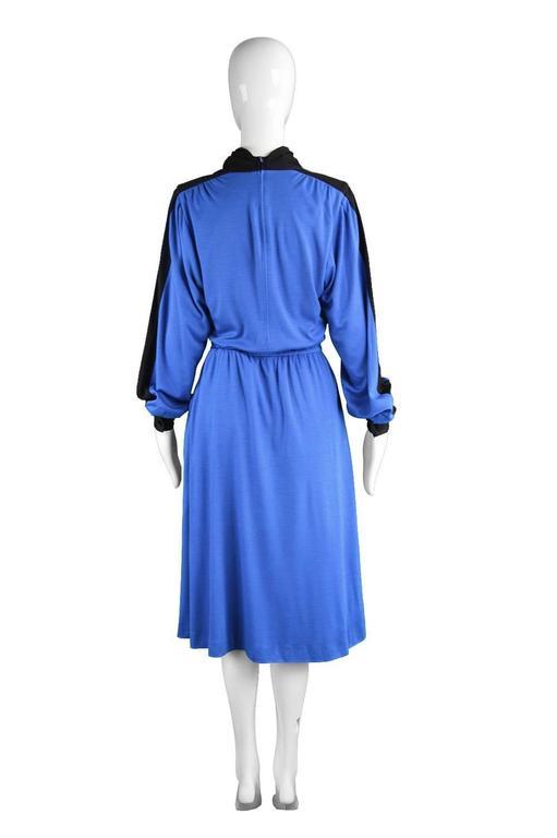 Akris Vintage Blue & Black Cowl Neck Dress, 1980s For Sale 2