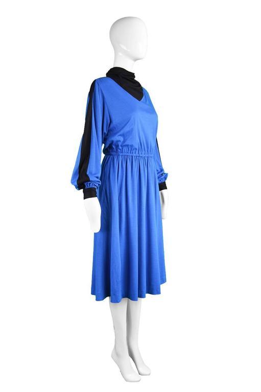 Women's Akris Vintage Blue & Black Cowl Neck Dress, 1980s For Sale