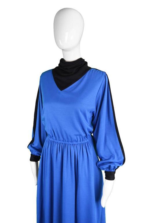 Akris Vintage Blue & Black Cowl Neck Dress, 1980s For Sale 1