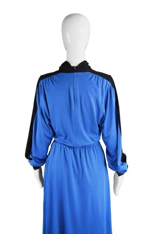 Akris Vintage Blue & Black Cowl Neck Dress, 1980s For Sale 3
