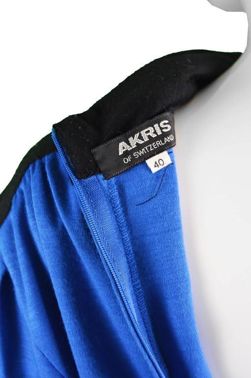 Akris Vintage Blue & Black Cowl Neck Dress, 1980s For Sale 4