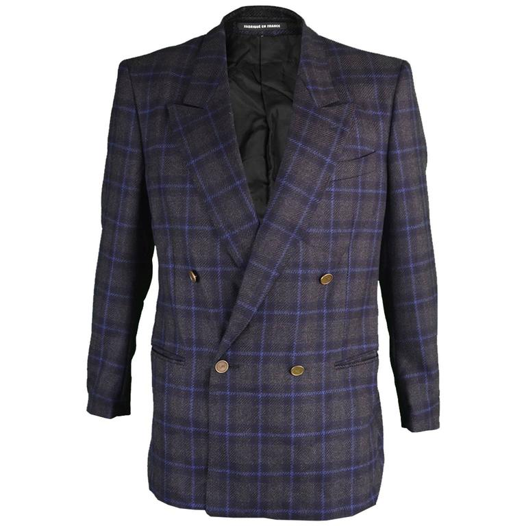 8dcfa7b8cc7 Yves Saint Laurent Men's Checked Double Breasted Wool Blazer, 1980s For Sale