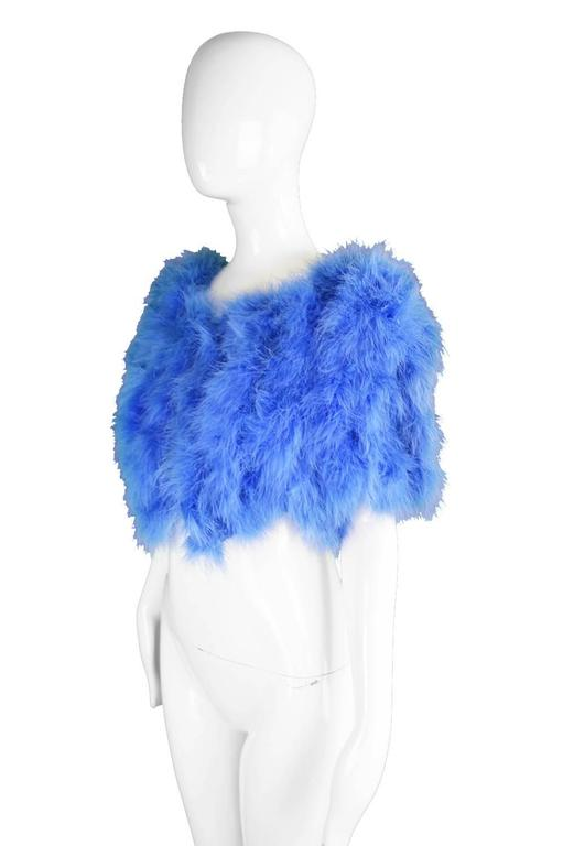 Vintage Blue Marabou Feather Bolero Jacket, 1960s  3