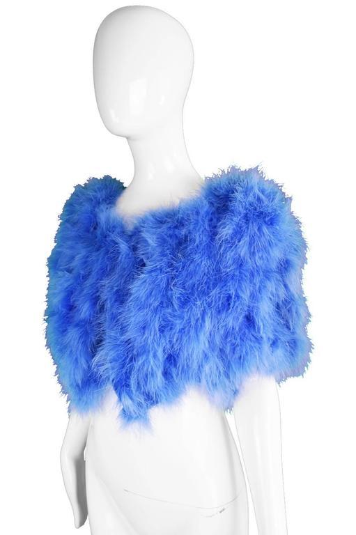 Vintage Blue Marabou Feather Bolero Jacket, 1960s  4