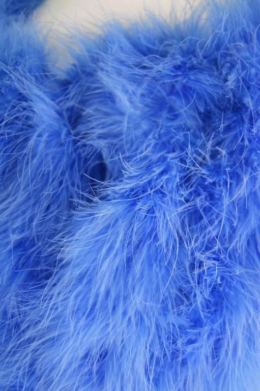 Vintage Blue Marabou Feather Bolero Jacket, 1960s  2