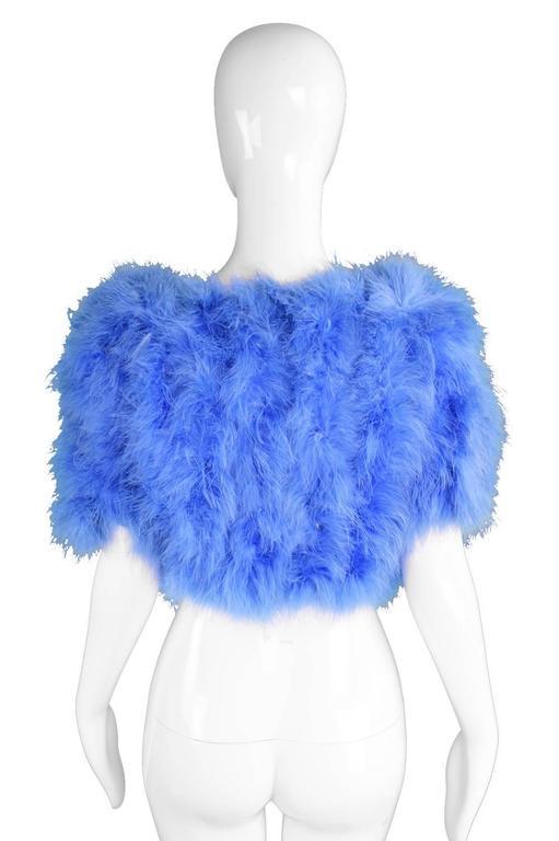 Vintage Blue Marabou Feather Bolero Jacket, 1960s  7