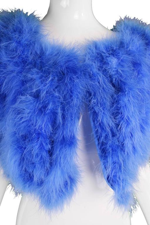 Vintage Blue Marabou Feather Bolero Jacket, 1960s  6