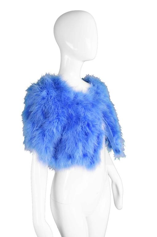 Vintage Blue Marabou Feather Bolero Jacket, 1960s  5