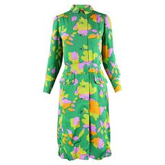 Galanos for Amelia Gray 1960s Vintage Green Tropical Textured Silk Dress