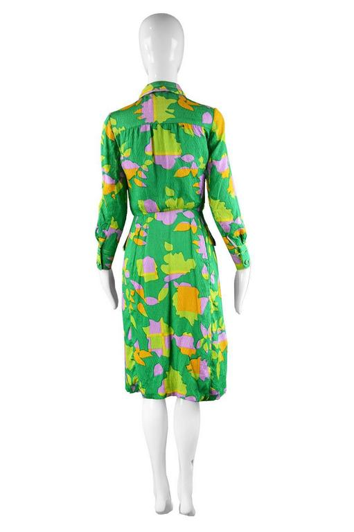 Galanos for Amelia Gray 1960s Vintage Green Tropical Textured Silk Dress For Sale 5