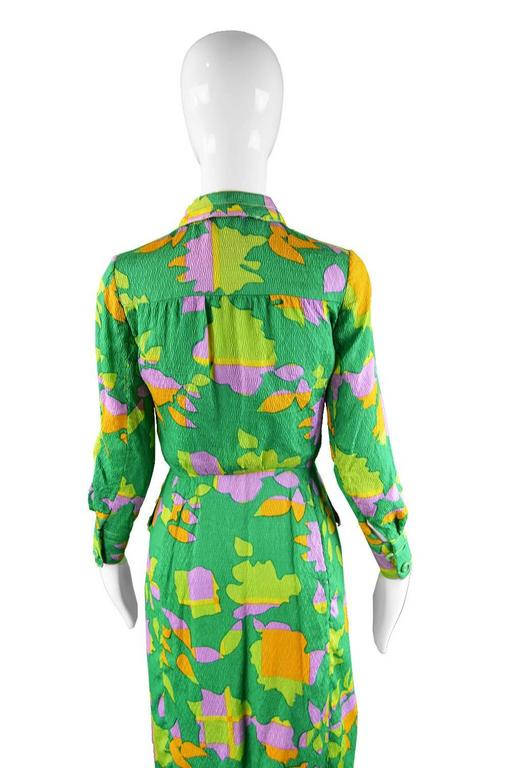 Galanos for Amelia Gray 1960s Vintage Green Tropical Textured Silk Dress For Sale 4
