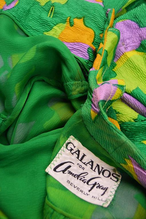 Galanos for Amelia Gray 1960s Vintage Green Tropical Textured Silk Dress For Sale 6