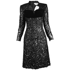 Givenchy Couture Unworn Vintage Lace, Sequin & Velvet Party Dress, A/W 1991