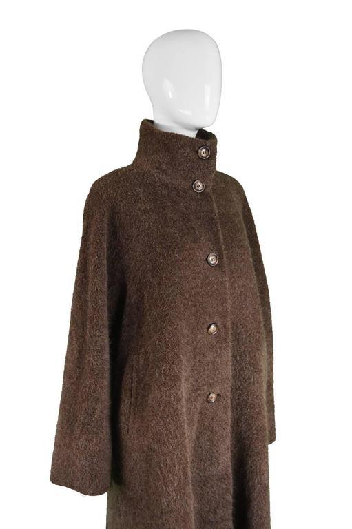 Max Mara Brown Alpaca And Virgin Wool Fuzzy Vintage Funnel
