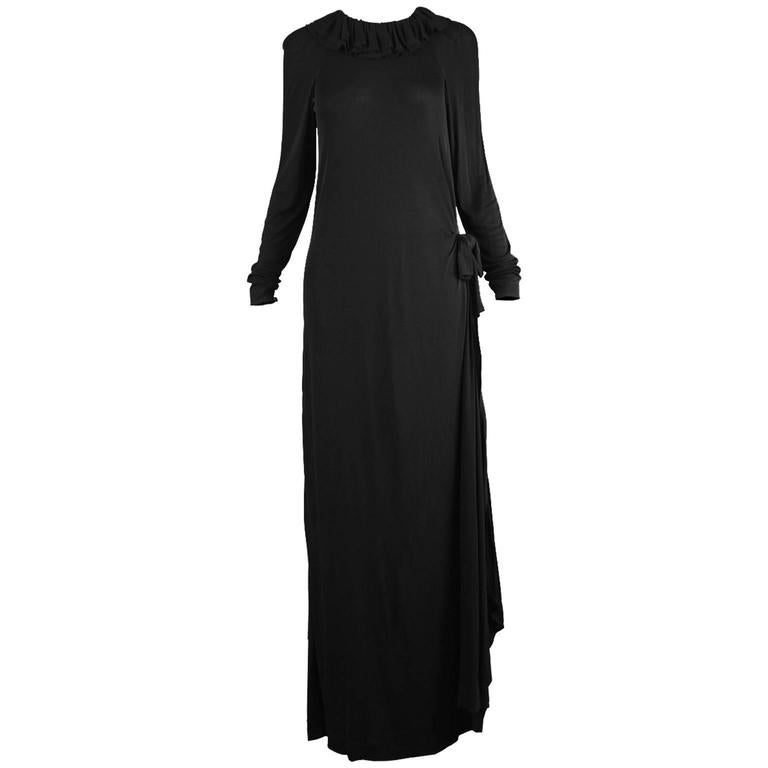 Jean Muir Black Draped Rayon Jersey Vintage Dress with Side Train, 1970s