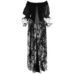 Curiel Couture Vintage Black & Grey Printed Velvet & Chiffon Evening Gown, 1970s