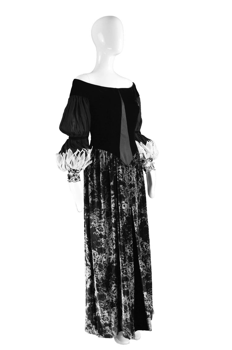 Curiel Couture Vintage Black and Grey Printed Velvet and ...