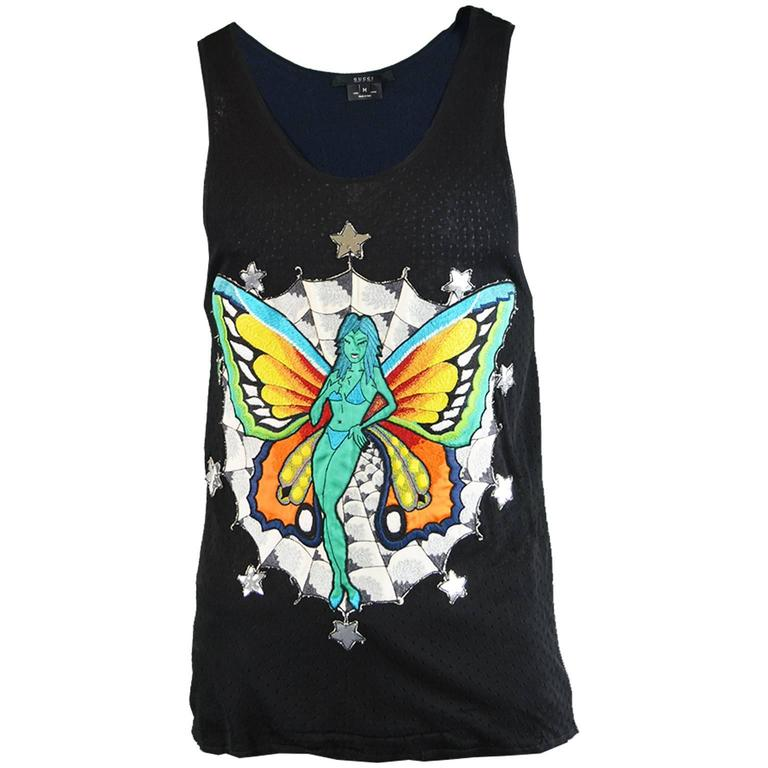 Tom Ford for Gucci Mens Rayon Knit Tank Top with Embroidered Fairy, S/S 2002
