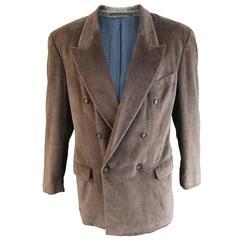 Hugo Boss Men's Vintage Brown Velvet Double Breasted Blazer, 1980s