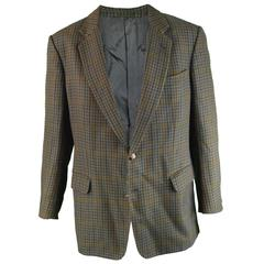 Burberry Men's Vintage Sport Coat Blazer with Suede Elbow Patches, 1970s