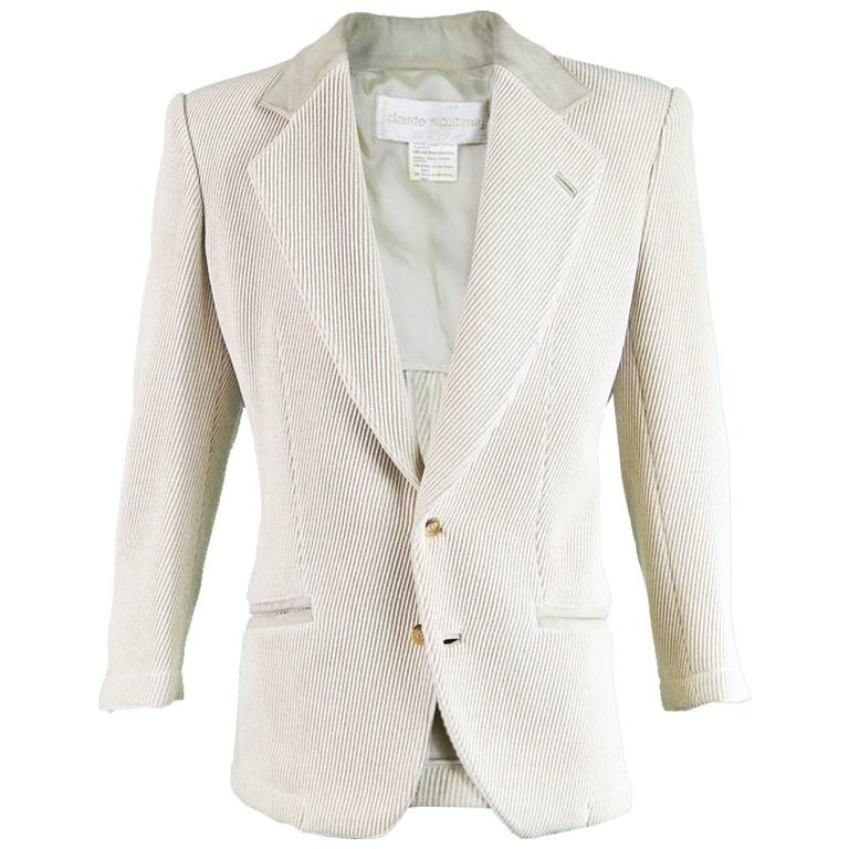 Claude Montana Mens Vintage Ribbed Virgin Wool & Suede Blazer, 1980s 1