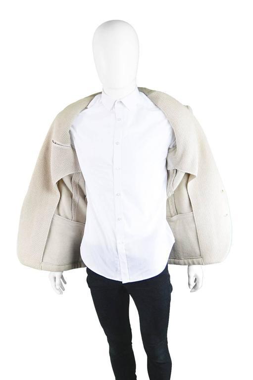 Claude Montana Mens Vintage Ribbed Virgin Wool & Suede Blazer, 1980s For Sale 3