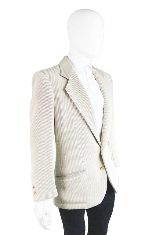 Claude Montana Mens Vintage Ribbed Virgin Wool & Suede Blazer, 1980s 5