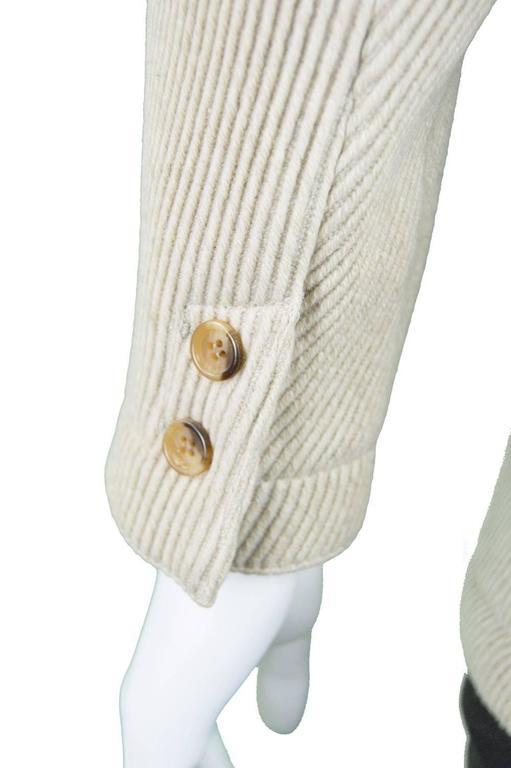 Claude Montana Mens Vintage Ribbed Virgin Wool & Suede Blazer, 1980s 6