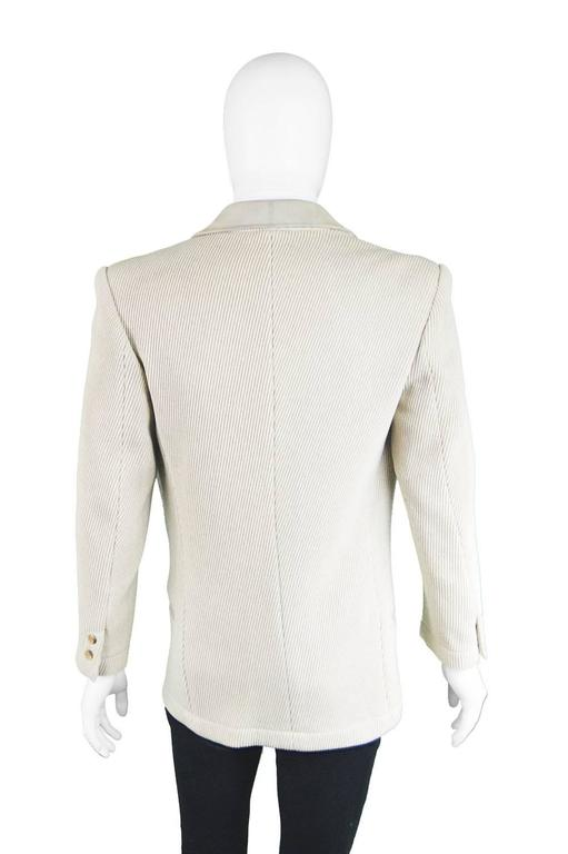 Claude Montana Mens Vintage Ribbed Virgin Wool & Suede Blazer, 1980s For Sale 2