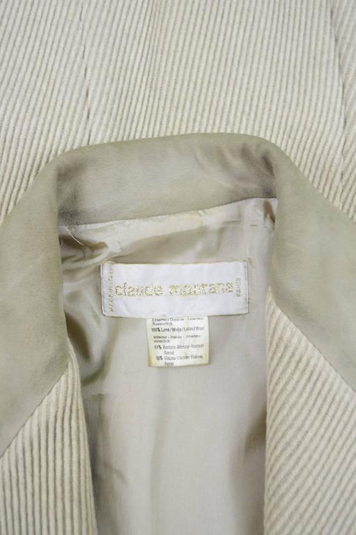 Claude Montana Mens Vintage Ribbed Virgin Wool & Suede Blazer, 1980s For Sale 4
