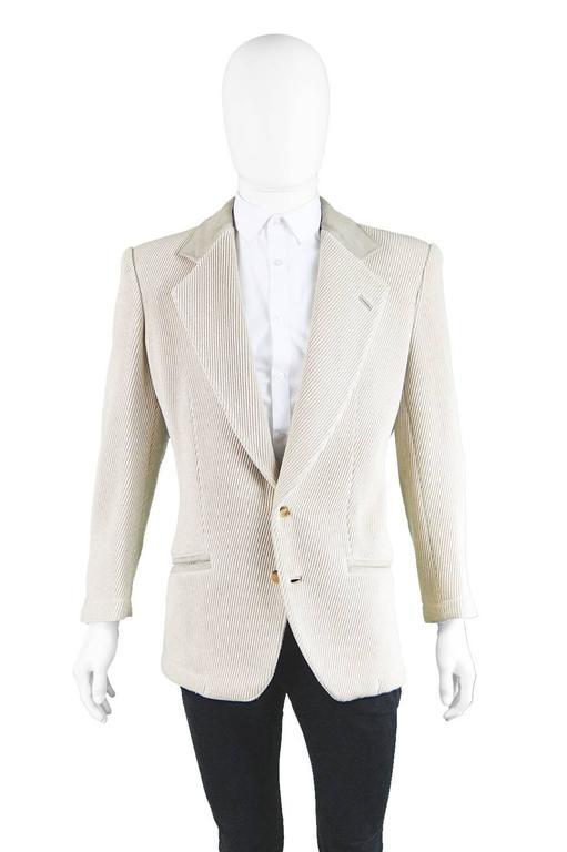 Gray Claude Montana Mens Vintage Ribbed Virgin Wool & Suede Blazer, 1980s For Sale