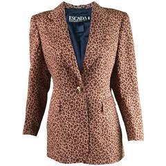 Escada Leopard Print Silk, Wool & Gold Lurex Blazer, 1980s