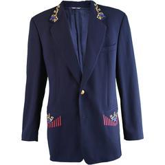 Byblos Men's Navy Blue Embroidered Wool Blazer, 1980s