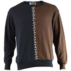 Claude Montana Men's Brown and Black Colour Blocked Sweatshirt, 1980s