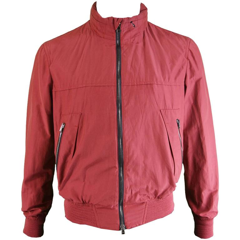 Valentino Men's Wine Red Bomber Jacket 38