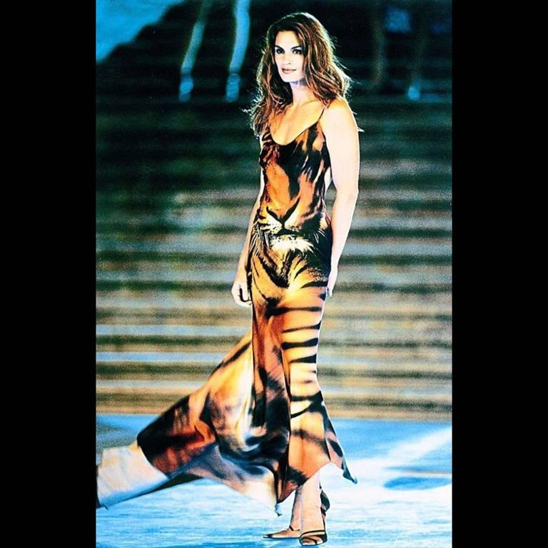 Iconic Roberto Cavalli Silk Tiger Print Runway Dress C