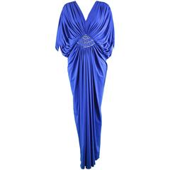 Vintage Marjon Couture Blue Jersey Grecian Goddess Dress, 1970s