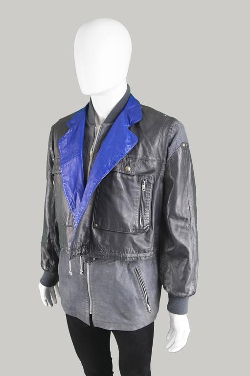 Claude Montana Men's Lambskin Leather Jacket with Detachable Vest, 1980s 2