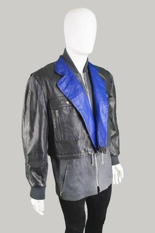 Claude Montana Men's Lambskin Leather Jacket with Detachable Vest, 1980s For Sale 2