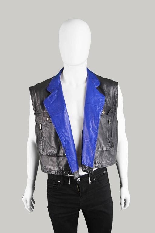 Claude Montana Men's Lambskin Leather Jacket with Detachable Vest, 1980s For Sale 1