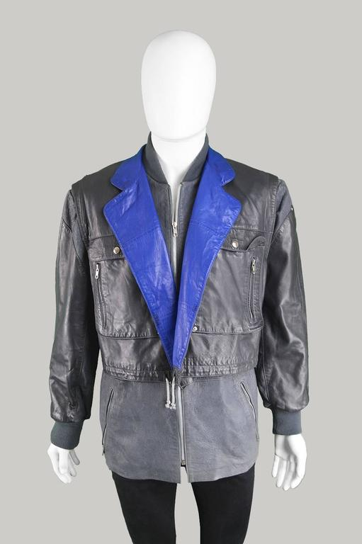 Claude Montana Men's Lambskin Leather Jacket with Detachable Vest, 1980s For Sale 4