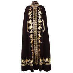 Brown Velvet Full Length Vintage Gold Embroidered Cape, 1970s
