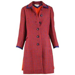 Jean Patou Red & Navy Houndstooth Check Two Piece Jacket & Dress Suit, 1960s