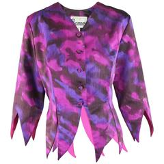 Vintage Romney Pink and Purple Avant Garde Pointed Hem Jacket, 1980s