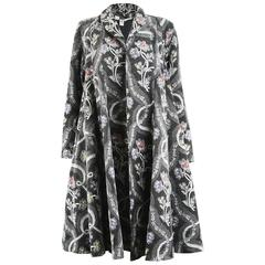 Emanuel Ungaro Dramatic Woven Wool Tapestry Swing Coat with Huge Sweep, 1980s