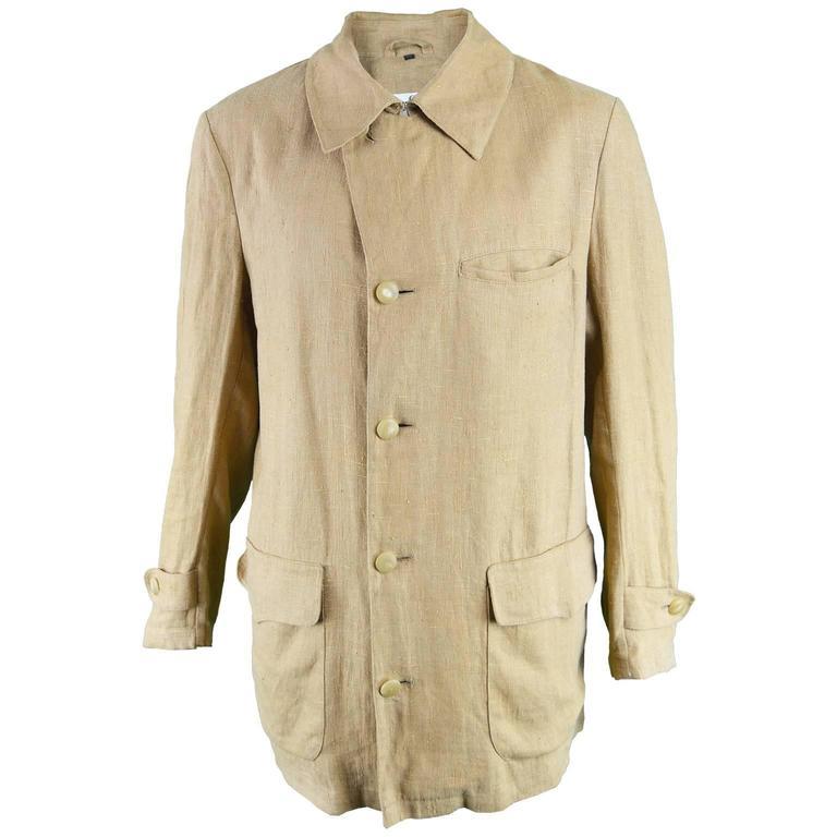 Cerruti 1881 Men's Linen Minimalist Vintage Khaki Jacket ...